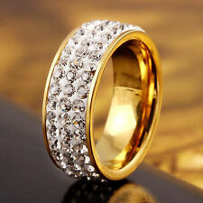 16mm Gold/ Silver Ring with Crystals Fashion/Wedding + Pouch