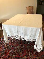 """Antique Handmade Point de Venise Lace Table Cloth- """"Baccus """""""