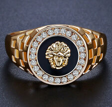 LION Ring Gold Color Men's Wedding Engagement Ring Sphinx Round Shape Size 9 M90