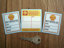 SHELL Oil Change Service Reminder Classic Car STICKERS Restoration Set of 3