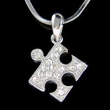 w Swarovski Crystal ~Jigsaw Puzzle~ Child Autism Cancer Awareness Charm Necklace