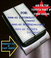 AF4722 FOR 1993-02 Toyota Corolla air filter,95-02 Mazda &98-02 Chevrolet Prizm