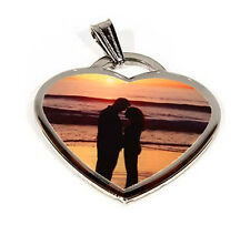 CUSTOM POLYMER GLAZED COATED HEART SHAPE COLOR DOG TAG PICTURE PENDANT