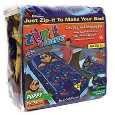 "Zipit Friends Bedding Set Fleece Twin Bed Sleeping Bag Blue Puppy 38"" x 74"""