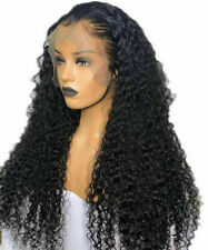 Luxury Transparent Lace Front Remy Curly Glueless #1B Full Lace Human Hair Wig
