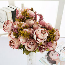 Artificial Peony Silk Flower Leaf Bouquet Homes Party Wedding Garden Decor US