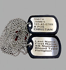 2 Military Dog Tags - Personalized Stainless - GI Identification w/ Silencers