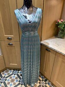 BIBA Long Grecian Dress Pale Green Shimmer Size 8 Preloved