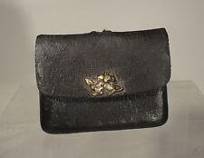 Antique Japanese Leather Netsuke Opium Bag Silver Multi Metal Rats Ojime Bronze