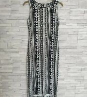 PEACOCKS Summer Dress Size 10-UK Black/White Bodycon Stretchy Casual Knee-Length