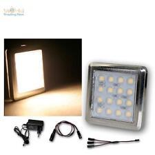 3er Set DEL Chrome Sous-Lampe/16 DEL Blanc Chaud, Avec Transformateur, construction projecteur