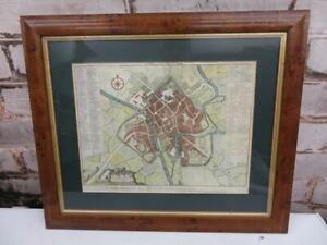 really old MAP in frame antique 1736 City of YORK