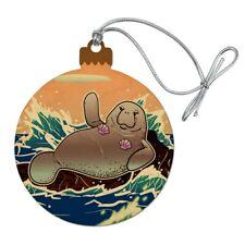 Waving Manatee Mermaid On Rocks Waves Wood Christmas Tree Ornament