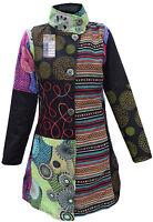 Cotton Felt Mix Floral Patchwork Ladies Fleece Lined Long Coat Winter Jacket