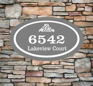 """Personalized Home Address Sign Aluminum 12"""" x 7"""" Custom House Number Plaque OV2"""