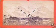 19551/ Stereofoto 9x17,5cm, F. Charnaux, Jungfrau Blick aufs kleine Scheideck