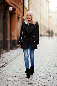 Zara Black Wool Coat Size M