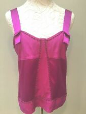 DVF Diane von Furstenberg Top  Sz 10 S M Hot Pink Cami Beaded  100% Silk