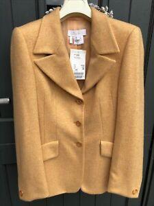 Escada Fitted Tweed Cashmere Blazer Jacket Margaretha Ley Size 10 Bnwt