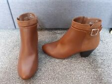 Ladies Low Heel Tan/Brown leather ankle boots size 7 / 41 from F&F