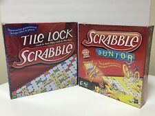 2 Hasbro Scrabble Board Games Double Sided Junior & Tile Lock