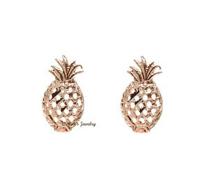 14K PINK ROSE GOLD HAWAIIAN DIAMOND CUT PINEAPPLE STUD EARRINGS SMALL 5.5MM
