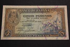 1940 SPAIN 5 PESETAS MADRID SERIE G BANKNOTE BILLETE ESPAÑA PICK#123a SC- (UNC-)