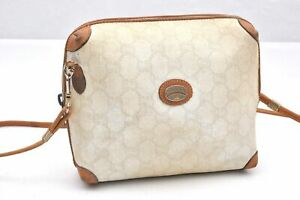 Authentic GUCCI GG Plus Shoulder Bag PVC Leather White Brown 97228
