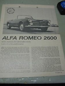 ALFA   ROMEO  2600  ROAD & TRACK ROAD TEST  1962  ORIGINAL  AD