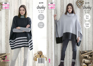 King Cole Ladies Chunky Knitting Pattern Easy Knit Boat or Cowl Neck Poncho 5179