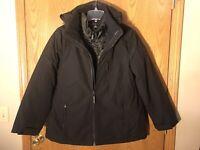 Calvin Klein NWT Size Medium Women's System Hooded Jacket Coat 3 in 1 Black