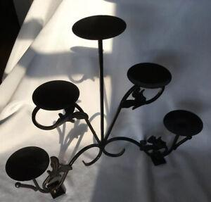 Black Burnished Bronze Metal Candelabra Holds 5 Pillar / Ball / Votive Candles