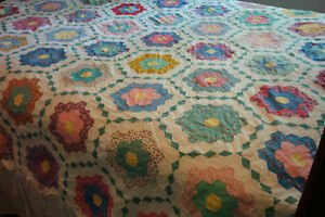 Vintage Grandmothers Flower Garden Patchwork Quilt Top Topper Feedsack B
