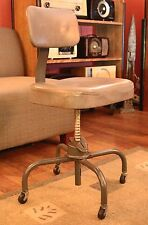 Vintage Industrial Cole-Steel Stool Chair with Casters / Steampunk