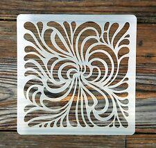 Swirling Fougères Design Tile Stencil 190 µ Mylar lavable réutilisable 15 x 15 cm
