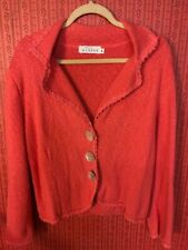 Willow Womens Cardigan Coral Cotton Lg Floral Buttons Embroidery Sz M Pre-Owned