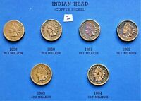 1859-1864 COPPER NICKEL INDIAN HEAD CENTS, PENNY, 6 COINS #2