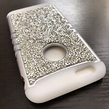 iPhone 6+ / 6S+ Plus - SILVER Diamond Rhinestone Studs Hybrid Glow in Dark Case
