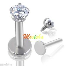 "1p 16G 1/4"" Clear 3mm CZ Round Tragus Lip Monroe Stud Cartilage Earring Piercing"
