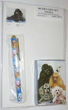 Black Poodle Gift Set Deck of Cards Roller Pen Pad Paper Dogs White Apricot Gray