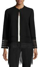 Elie Tahari Black Pearl Crochet Trim Fringe Hem Topper Coat Jacket- Size XL- NWT