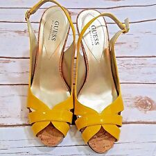 Guess Yellow Patent leather Slingback Cork High Heels Size 8 1/2