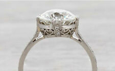 Vintage 14k White Gold Over 2Ct Round Solitaire Diamond Engagement Ring