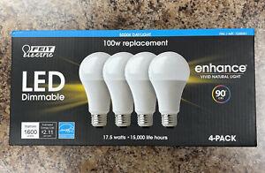 17.5 W / 100 Watt LED Dimmable Light Bulbs 4 pack 5000K Feit Electric
