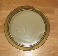 VINTAGE OLD SMALL ROUND BRASS  WALL MIRROR- 14 1/2 INCHES