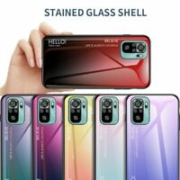 For Xiaomi Redmi Note 10 / 10S Slim Luxury Hybrid Tempered Glass Back Case Cover