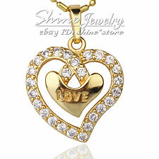 9K GOLD FILLED LOVE HEART SIMULATED DIAMOND HUG XMAS GIFT SOLID PENDANT NECKLACE