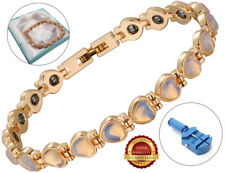 Ladies Health Bracelet Blue Faux Gemstones Bangle Therapy Arthritis Healing Cuff