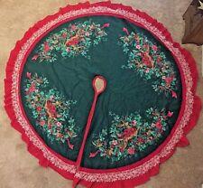 "Reindeer Country Red Green Christmas Tree Skirt 60"""