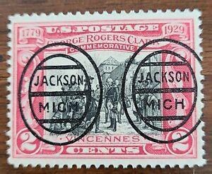 Michigan MI precancel 651- L-1E Jackson Oval George Rogers Clark  Only 2 known